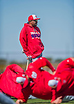 25 February 2016: Washington Nationals Manager Dusty Baker watches his team stretch during the first full squad Spring Training workout at Space Coast Stadium in Viera, Florida. Mandatory Credit: Ed Wolfstein Photo *** RAW (NEF) Image File Available ***