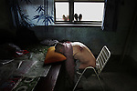 As a result of drinking polluted groundwater for years, more than fifty residents of the village of Xiakang -- including 64 year-old Wang Baosheng -- suffer from cancer and cerebral thrombosis. Linfen City, Shanxi Province. July 10, 2005.