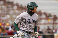 Beloit Snappers outfielder Steven Pallares (14) rounds first base during a Midwest League game against the Wisconsin Timber Rattlers on April 10th, 2016 at Fox Cities Stadium in Appleton, Wisconsin.  Wisconsin defeated Beloit  4-2. (Brad Krause/Four Seam Images)