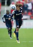 22 October 2011: New England Revolution defender Kevin Alston #30 in action during a game between the New England Revolution and Toronto FC at BMO Field in Toronto.