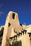 New Mexico: Santa Fe, adobe architecture, Museum of Fine Arts,  Photo: nmarts102.Photo copyright Lee Foster, www.fostertravel.com, 510/549-2202, lee@fostertravel.com