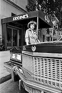 August 31st, 1977, Manhattan, New York City. Regine Davis outside her office at Le Reginette 69 East 59th Street.