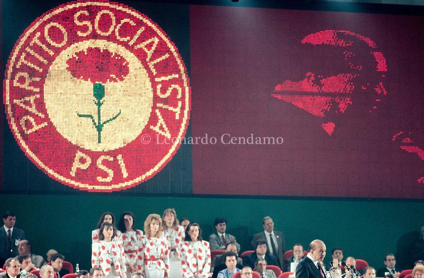 """Benedetto """"Bettino"""" Craxi was an Italian politician, head of the Italian Socialist Party from 1976 to 1993, the first socialist President of the Council of Ministers of Italy from 1983 to 1987. 44° Congresso di Rimini del Partito Socialista Italiano 1987. © Leonardo Cendamo"""