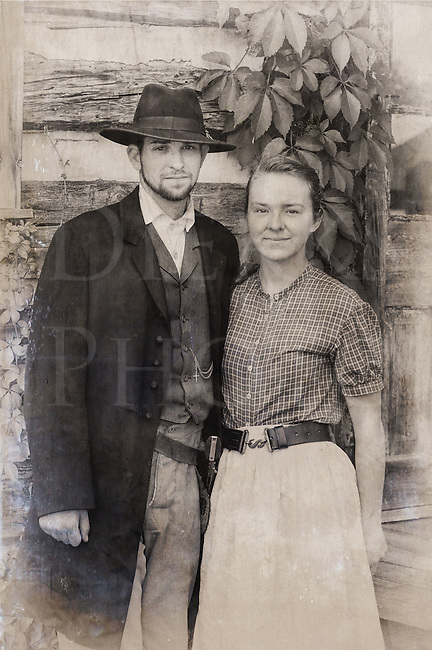 White American Couple American Old West Couple
