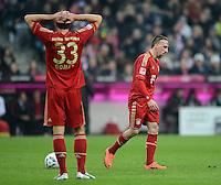 FUSSBALL   1. BUNDESLIGA  SAISON 2011/2012   31. Spieltag FC Bayern Muenchen - FSV Mainz 05       14.04.2012 Mario Gomez (li,) mit Franck Ribery (FC Bayern Muenchen)