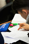 February 23, 2015. Durham, North Carolina.<br />  Students in Professor Elisabeth deFontenay's Corporate Finance class work on class exercises on stock returns.<br />  The Duke University School of Law is considered one of the best law schools in the country.