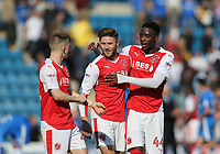 Fleetwood Town's Ashley Hunter, Wes Burns and Devante Cole celebrate at the end of the game<br /> <br /> Photographer Rob Newell/CameraSport<br /> <br /> The EFL Sky Bet League One - Gillingham v Fleetwood Town - Saturday 22nd April 2017 - MEMS Priestfield Stadium - Gillingham<br /> <br /> World Copyright &not;&copy; 2017 CameraSport. All rights reserved. 43 Linden Ave. Countesthorpe. Leicester. England. LE8 5PG - Tel: +44 (0) 116 277 4147 - admin@camerasport.com - www.camerasport.com