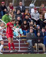 Marist College midfielder Kathryn Hannis (2) heads the ball.  Boston College defeated Marist College, 6-1, in NCAA tournament play at Newton Campus Field, November 13, 2011.