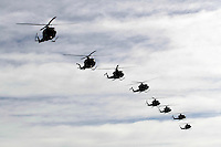 Bell 412 SP helicopters in formation during Rygge Airshow. Norway