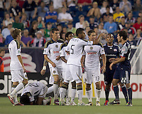 Second yellow card ejected New England Revolution midfielder Benny Feilhaber (22) has parting words with Philadelphia Union. In a Major League Soccer (MLS) match, the Philadelphia Union defeated the New England Revolution, 3-0, at Gillette Stadium on July 17, 2011.
