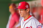 30 August 2015: Washington Nationals infielder Trea Turner watches play from the dugout during a game against the Miami Marlins at Nationals Park in Washington, DC. The Nationals rallied to defeat the Marlins 7-4 in the third game of their 3-game weekend series. Mandatory Credit: Ed Wolfstein Photo *** RAW (NEF) Image File Available ***