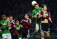 FUSSBALL   1. BUNDESLIGA    SAISON 2012/2013    17. Spieltag   SV Werder Bremen - 1. FC Nuernberg                     16.12.2012 Theodor Gebre Selassie (li) und Sokratis Papastathopoulos (4.v.l., beide SV Werder Bremen) gegen Sebastian Polter Per Nilllson,  Almong Cohen und Timm Klose (v.l., alle 1. FC Nuernberg)