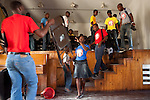 Students change classes at Ecole de Musique Dessaix Baptiste in Jacmel, Haiti.