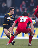 Nic Berry of London Wasps RFC lays the ball off - London Wasps RFC vs Saracens RFC - Aviva Premiership Rugby at Adams Park, Wycombe Wanderers FC - 12/02/12 - MANDATORY CREDIT: Ray Lawrence/TGSPHOTO - Self billing applies where appropriate - 0845 094 6026 - contact@tgsphoto.co.uk - NO UNPAID USE.