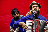 A live act performed by musicians during the San Fermín festival in Pamplona, Spain, 6 July 2005.