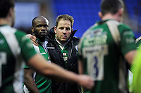 Topsy Ojo and David Paice of London Irish look dejected after the match. Aviva Premiership match, between London Irish and Exeter Chiefs on February 21, 2016 at the Madejski Stadium in Reading, England. Photo by: Patrick Khachfe / JMP