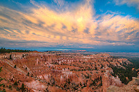 Sunset Point view, Bryce Canyon National Park, Utah, Wasatch limestone pinnacles and sunset clouds