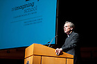 September 26, 2011; Rev. John l. Jenkins, C.S.C., president of Notre Dame introduces Jeb Bush, Florida's former governor and founder of the Foundation for Excellence in Education before his talk at Leighton Concert Hall as part of the 2011-2011 Notre Dame Forum. Photo by Barbara Johnston/University of Notre Dame