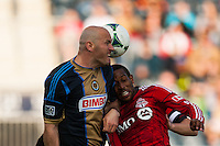 Conor Casey (6) of the Philadelphia Union goes up for a header with Jeremy Hall (25) of Toronto FC. Toronto FC and the Philadelphia Union played to a 1-1 tie during a Major League Soccer (MLS) match at PPL Park in Chester, PA, on April13, 2013.