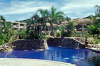 Swimming pool at the Mayan Princess Hotel on the Island of Roatan, Bay Islands, Honduras