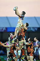 James King of the Ospreys wins the ball at a lineout. European Rugby Champions Cup match, between Exeter Chiefs and the Ospreys on January 24, 2016 at Sandy Park in Exeter, England. Photo by: Patrick Khachfe / JMP