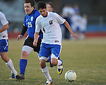Oxford's Shae Mnichowski (4) scores vs. Saltillo in boys high school soccer action at Oxford High School in Oxford, Miss. on Thursday, January 27, 2011. Mnichowski scored 5 goals in the Chargers' 11-1 win.