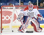 Doug Carr (Lowell - 31) watched as the puck rolled into his net. - The visiting Minnesota State University-Mankato Mavericks defeated the University of Massachusetts-Lowell River Hawks 3-2 on Saturday, November 27, 2010, at Tsongas Arena in Lowell, Massachusetts.