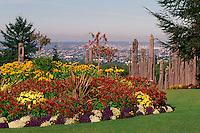 Burnaby, BC, British Columbia, Canada - Flower Garden and Kamui Mintara (Playground of the Gods), Japanese Totem Poles, Burnaby Mountain Conservation Area and Park (Sculptors - Nuburi Toko and Shusei Toko)