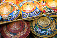 Hats for sale in the Damnern Saduak floating market, Bangkok, Thailand