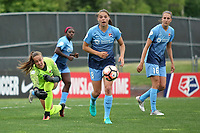 Piscataway, NJ - Saturday May 20, 2017: Kailen Sheridan, Erica Skroski, Sarah Killion during a regular season National Women's Soccer League (NWSL) match between Sky Blue FC and the Houston Dash at Yurcak Field.  Sky Blue defeated Houston, 2-1.