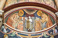Frescoes on the interior of the Romanesque Baptistery of Parma, circa 1196, (Battistero di Parma), Italy