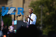Philadelphia, PA - September 13, 2016: U.S. President Barack Obama speaks to supporters during a campaign stop for democratic presidential candidate Hillary Clinton at the Eakins Oval park in Philadelphia, Pennsylvania, September 13, 2016.  (Photo by Don Baxter/Media Images International)