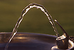 Close-up of water fountain with water stream at park, sunset, Bothell, Washington State USA
