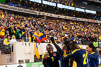 Juan Guillermo Cuadrado (4) of Colombia celebrates scoring with teammates . Brazil (BRA) and Colombia (COL) played to a 1-1 tie during international friendly at MetLife Stadium in East Rutherford, NJ, on November 14, 2012.