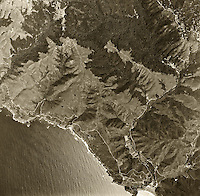 historical aerial photograph Stinson Beach, Muir Beach, Muir Woods, western Marin county, California, 1968
