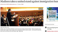 Madison mayor, Paul Soglin, challenges Donald Trump's immigration ban at the Community Forum at Monona Terrace on Sunday in Madison, Wisconsin | Wisconsin State Journal front page article 1/30/17 and online at http://host.madison.com/wsj/news/local/govt-and-politics/madison-takes-a-united-stand-against-immigration-ban/article_ee088432-e545-5467-92d3-8f95f2a567da.html