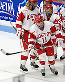 Shannon Stoneburgh (BU - 7), Dakota Woodworth (BU - 11), Isabel Menard (BU - 20) - The Boston University Terriers defeated the visiting Union College Dutchwomen 6-2 on Saturday, December 13, 2012, at Walter Brown Arena in Boston, Massachusetts.