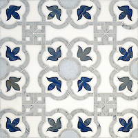 Jaen, a natural stone waterjet mosaic shown in Thassos honed, Carrara polished, Celeste polished, Blue Macauba polished, is part of the Miraflores Collection by Paul Schatz for New Ravenna Mosaics.