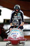 19 November 2005: Gatis Guts pilots the Latvia 2 sled to a 12th place tie finish with Switzerland 2 at the 2005 FIBT AIT World Cup Men's 2-Man Bobsleigh Tour at the Verizon Sports Complex, in Lake Placid, NY. Mandatory Photo Credit: Ed Wolfstein.