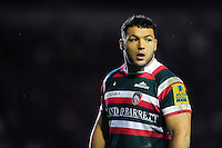 Ellis Genge of Leicester Tigers looks on. Aviva Premiership match, between Leicester Tigers and Saracens on January 1, 2017 at Welford Road in Leicester, England. Photo by: Patrick Khachfe / JMP
