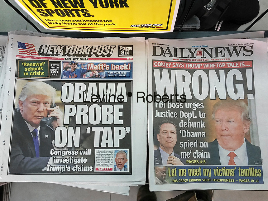 New York newspapers report on Monday, March 6, 2017 on President Donal Trump's allegations that former President Barack Obama order wiretaps on his offices in Trump Tower. (© Richard B. Levine)