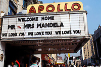 Activites surrounding the visit of Nelson and Winnie Mandela to New York City and Harlem in June 1990. Apollo Theater welcomes the Mandela's visit. (© Frances M. Roberts)