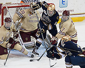 Steven Santini (BC - 6), Thatcher Demko (BC - 30), Sam Herr (ND - 12), Isaac MacLeod (BC - 7), Bryan Rust (ND - 21) - The Boston College Eagles defeated the visiting University of Notre Dame Fighting Irish 4-2 to tie their Hockey East quarterfinal matchup at one game each on Saturday, March 15, 2014, at Kelley Rink in Conte Forum in Chestnut Hill, Massachusetts.