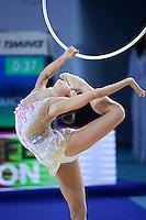 VICTORIA VEINBERG FILANOVSKY of Israel performs with hoop at 2016 European Championships at Holon, Israel on June 18, 2016.
