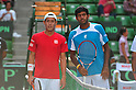(L to R) Kei Nishikori (JPN), Rohan Boppana (IND), SEPTEMBER 16, 2011 - Tennis : Davis Cup by BNP Paribas 2011 World Group play-off match Kei Nishikori(JPN) 3(6-3 6-2 6-2)0 Rohan Boppana (IND) at Ariake Colosseum, Tokyo, Japan. (Photo by Jun Tsukida/AFLO SPORT) [0003]