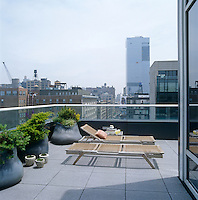 The glass balustrade on this terrace maximises the urban view whilst the softly shaped plant containers mellow the minimalist design