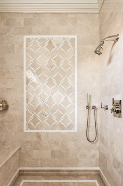 This custom Sophie mosaic shower is shown in Botticino and Thassos and is part of the Silk Road Collection by Sara Baldwin for New Ravenna.<br /> -photo courtesy of Clean Design<br /> <br /> For pricing samples and design help, click here: http://www.newravenna.com/showrooms/