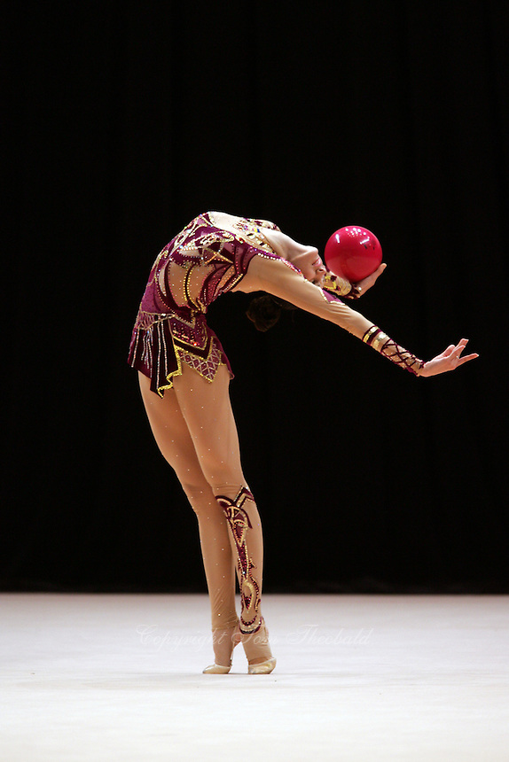Anna Bessonova of Ukraine (flexibility with ball) wins Gold, Silver and Bronze in rhythmic gymnastics apparatus finals at World Games from Duisburg, Germany on July 20-21, 2005.  Event finals in rhythmic gymnastics are only held at World Games. (Photo by Tom Theobald)