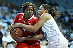 28 November 2012: Ohio State's Raven Ferguson (left) and North Carolina's Krista Gross (right). The University of North Carolina Tar Heels played the Ohio State University Buckeyes at Carmichael Arena in Chapel Hill, North Carolina in an NCAA Division I Women's Basketball game. UNC won the game 57-54.