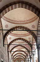 Detail of the ceiling of the  arcaded courtyard, Sultan Ahmed Mosque, or Blue Mosque, 1609-16, by Mehmet Aga, Istanbul, Turkey. The Sultan Ahmed Mosque, commissioned by Sultan Ahmed I, was built near the Hagia Sophia and combines Byzantine style with Islamic architecture. The court, surrounded by a continuous vaulted arcade (revak), is about as large as the mosque itself. The historical areas of the city were declared a UNESCO World Heritage Site in 1985. Picture by Manuel Cohen.